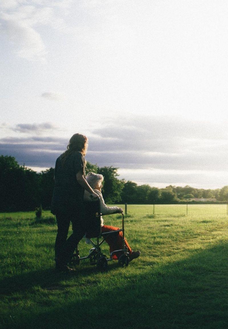 Rollstuhl Sonnenuntergang